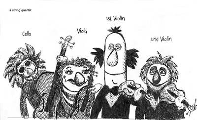 Pen and Ink String Quartet rendered by ©Ana Tirolese in the style of The Muppets.