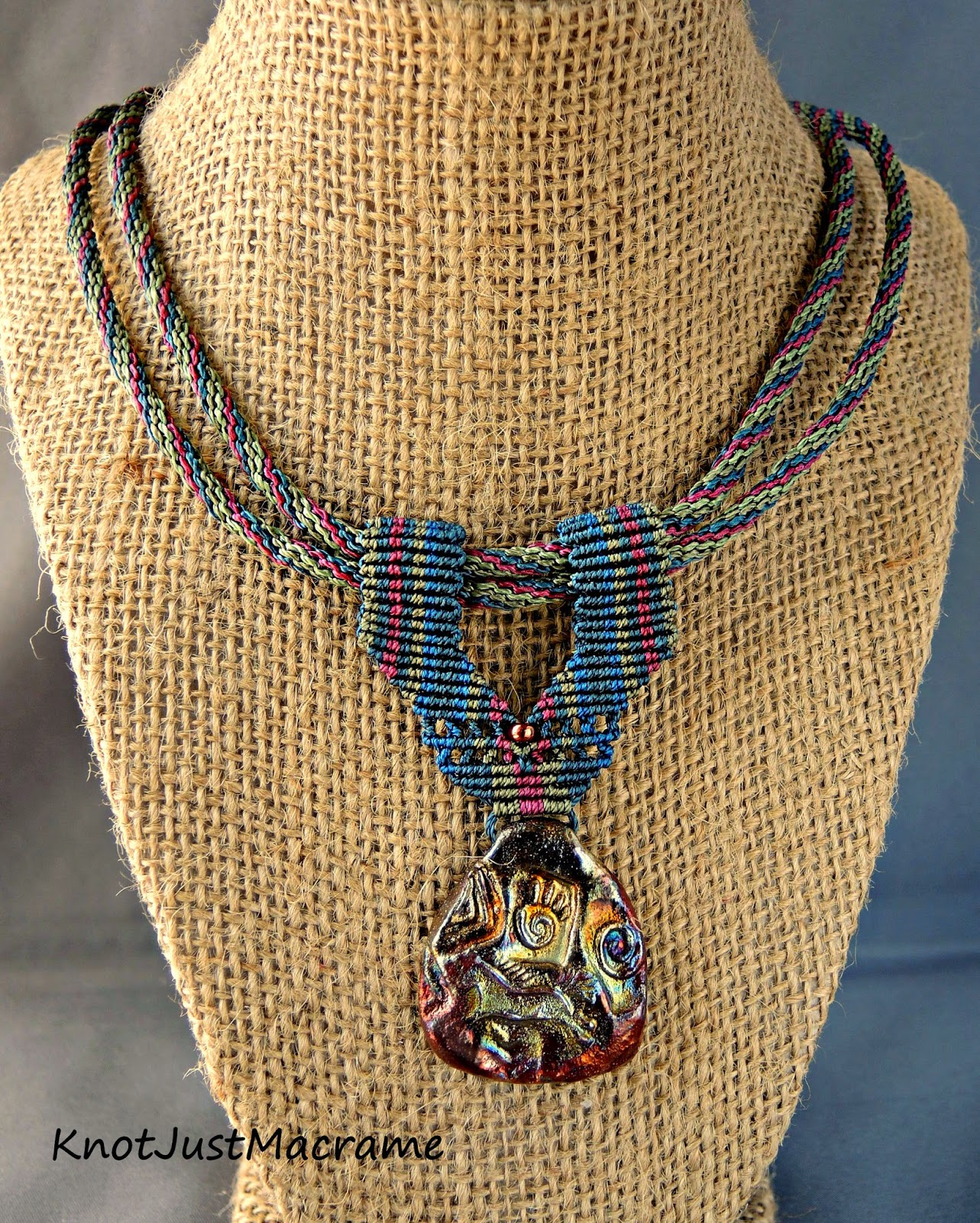 Macrame necklace by Sherri Stokey of Knot Just Macrame.