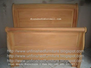 Indonesian furniture supplier raw unfinished wooden sleight bed