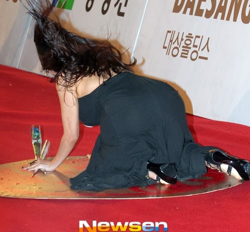 As she stepped on her long hem, Ha Na Kyung tripped. However, some newspapers said that Ha Na Kyung deliberately falls to 'create a career boost.'