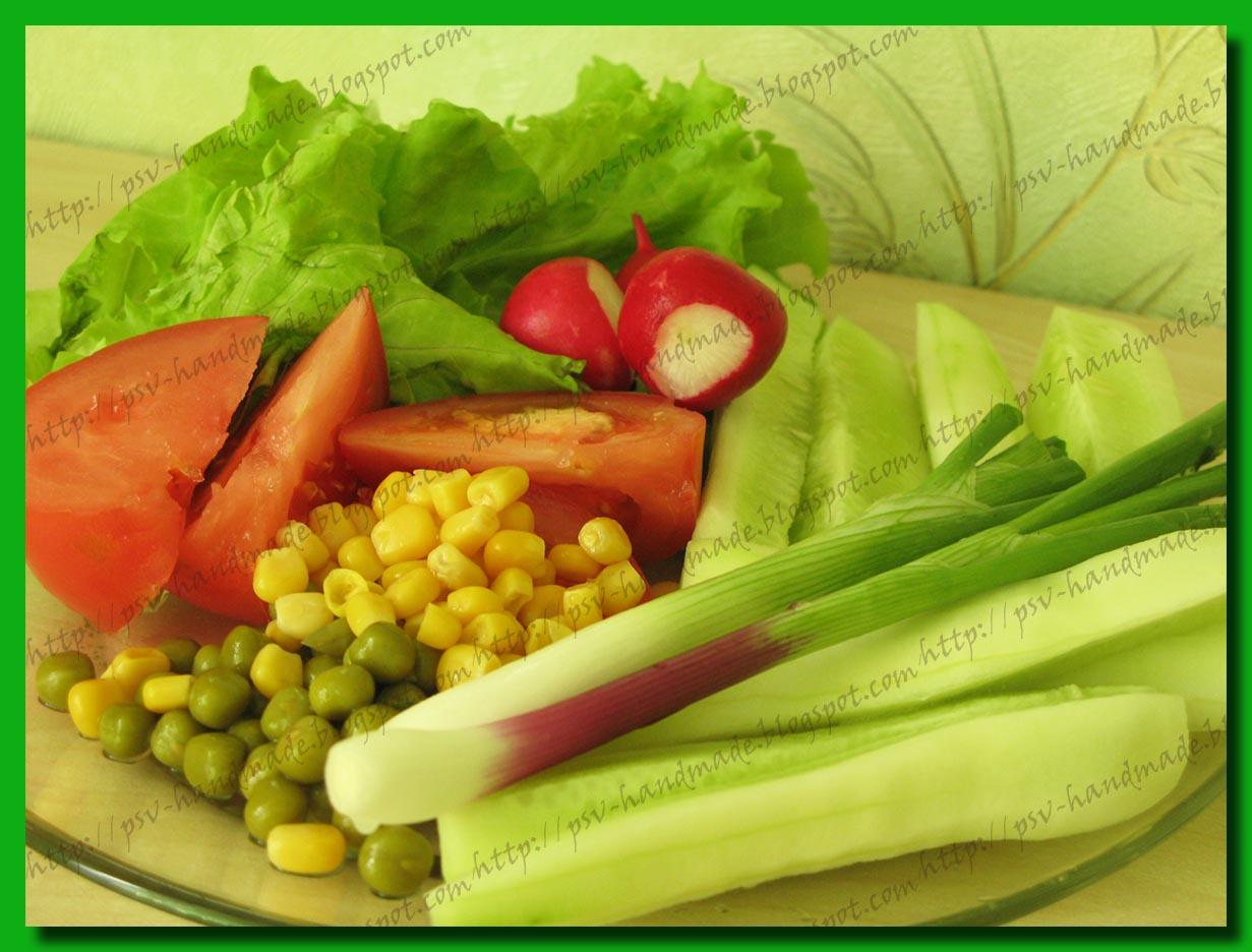 Летнее настроение - овощи на тарелке