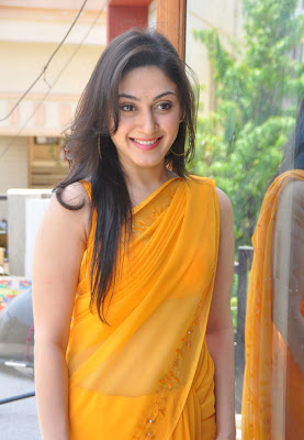 Manjari Hot in Yellow Transparent Saree Navel Show