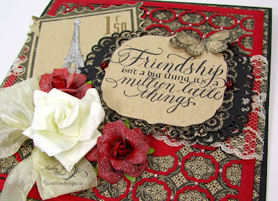 Quietfire, Friendship, card, Graphic 45, Kraft Reflections, Spellbinders, Labels One card Front, Labels 47, Decorative Elements, paris