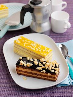 Tesco Lemon and White Chocolate Cake Slice and Chocolate and Honeycomb Cake Slice