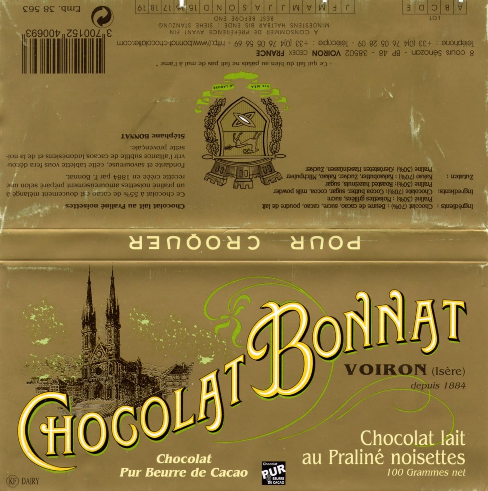 tablette de chocolat lait gourmand bonnat lait au praliné noisettes