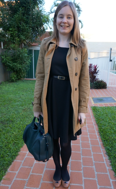 away from blue blog workwear LBD trench coat MbMj flats Rocco bag