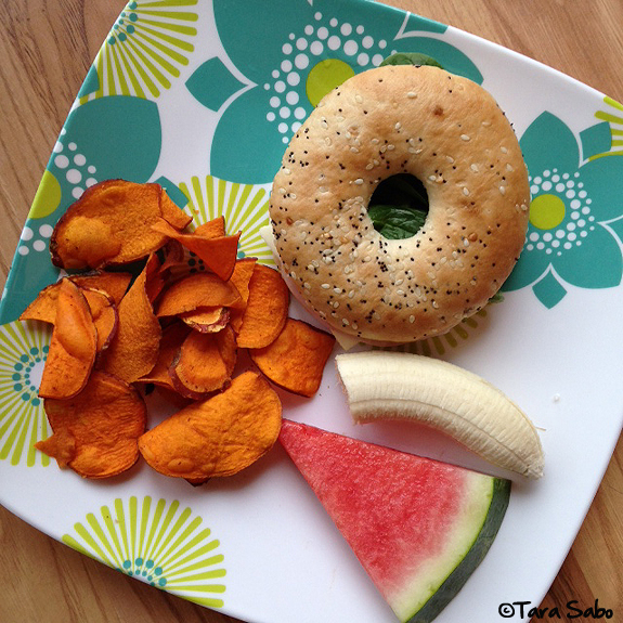 bagel, chips, watermelon, banana, lunch