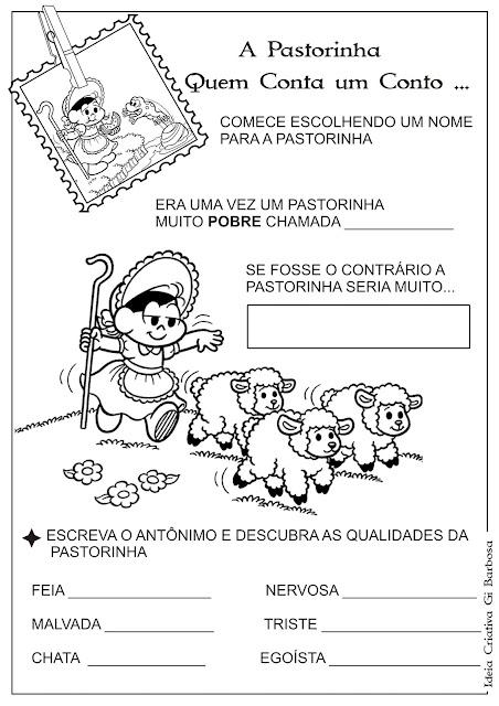 Atividade Contos de Fada A Pastorinha Antônimo - Capa e  Página 1