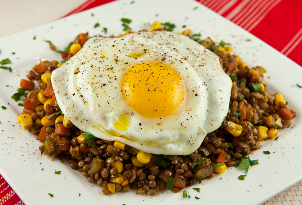 Braised Lentils Topped With An Olive Oil Fried Egg