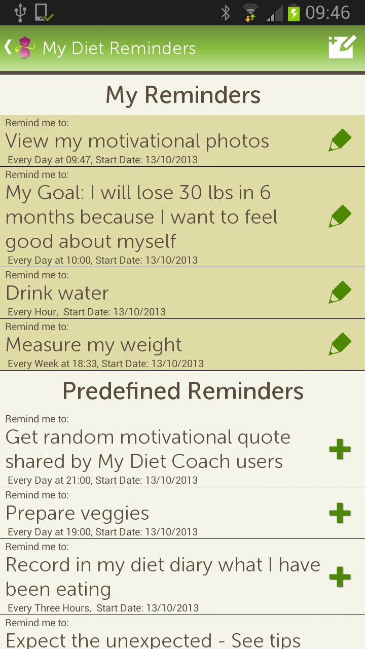 diet reminders