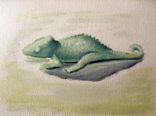 green lizard as painting