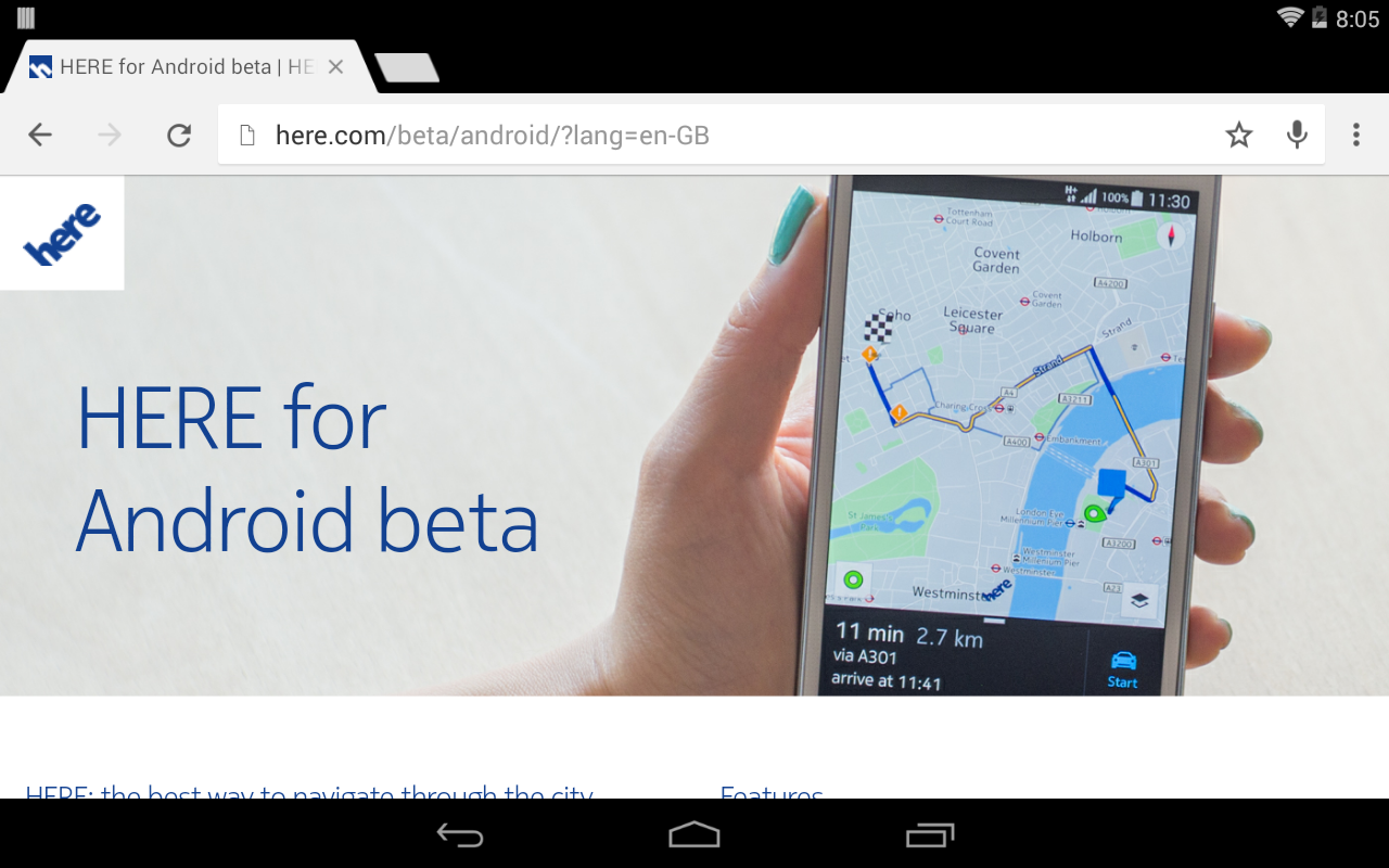 Map App Hither Back Upward Android Devices Now