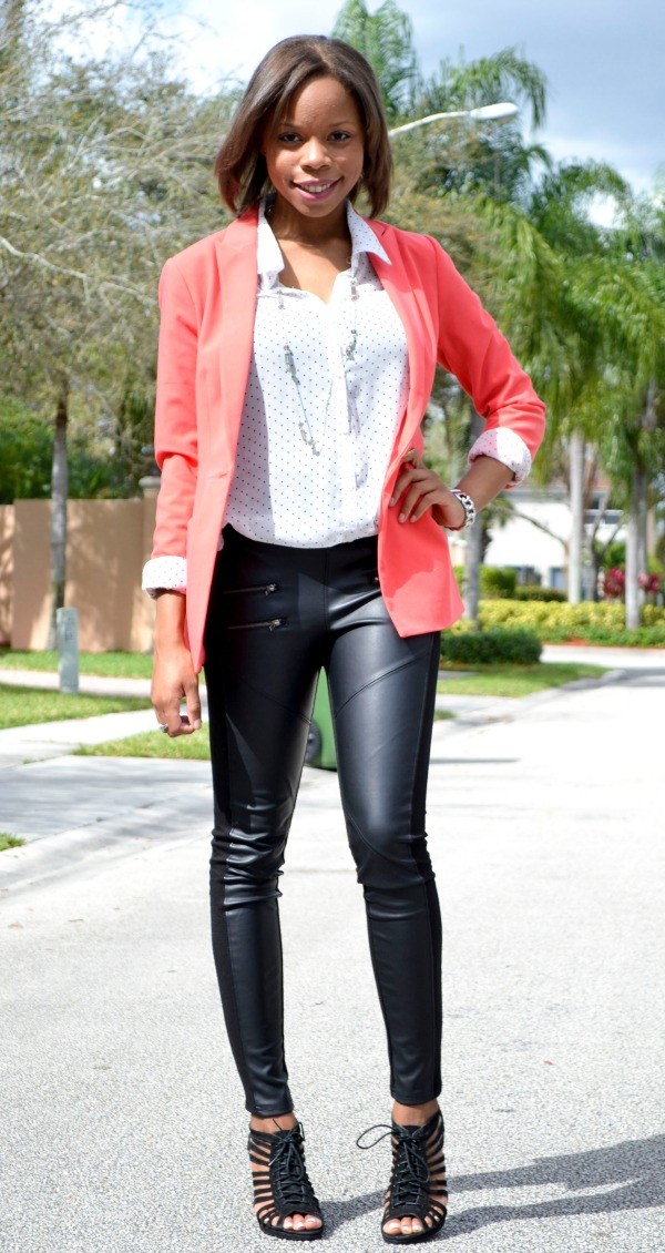 Statement Blazer | Vegan Leather Leggings | Fall Outfit Ideas
