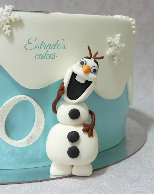 Tarta de Frozen con fondant - Olaf