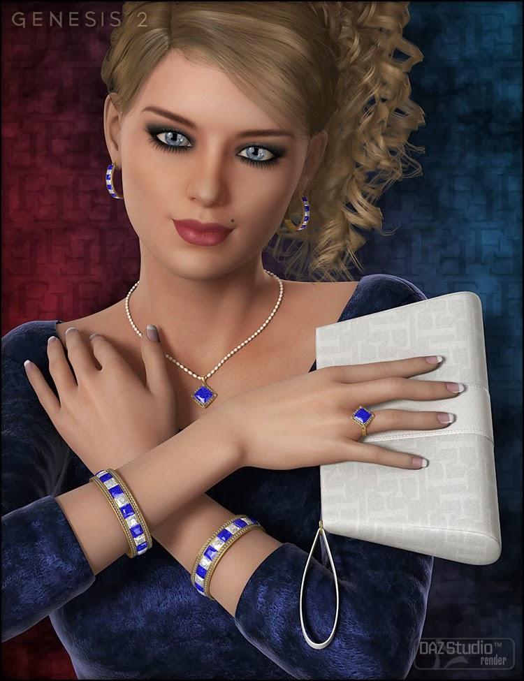 Glamorous Riva - Caractère, cheveux, tenue, accessoires et Poses Bundle