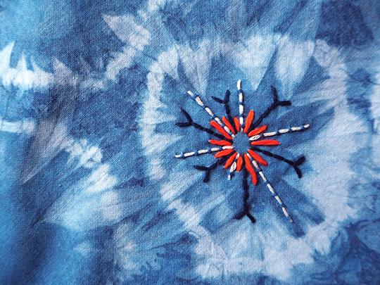 Indigo dye shibori techniques embroidery kantha