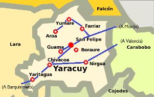 Vías principales del Estado Yaracuy