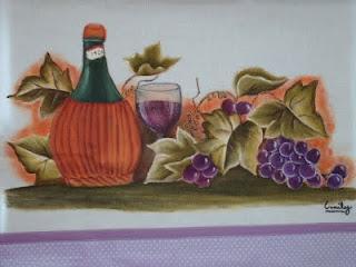 pintura ceia vinho garrafa uvas