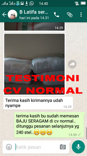 TESTIMONI PEMBELI BAJU SERAGAM SEKOLAH CV NORMAL