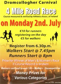 4 mile race in Co.Limerick - Mon 2nd July 2018