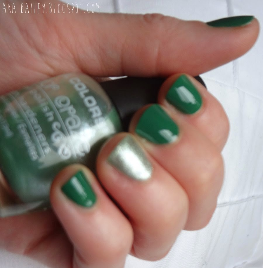 Sinful Colors Envy, LA Colors Green Tea, nail polish, silver glitter accent