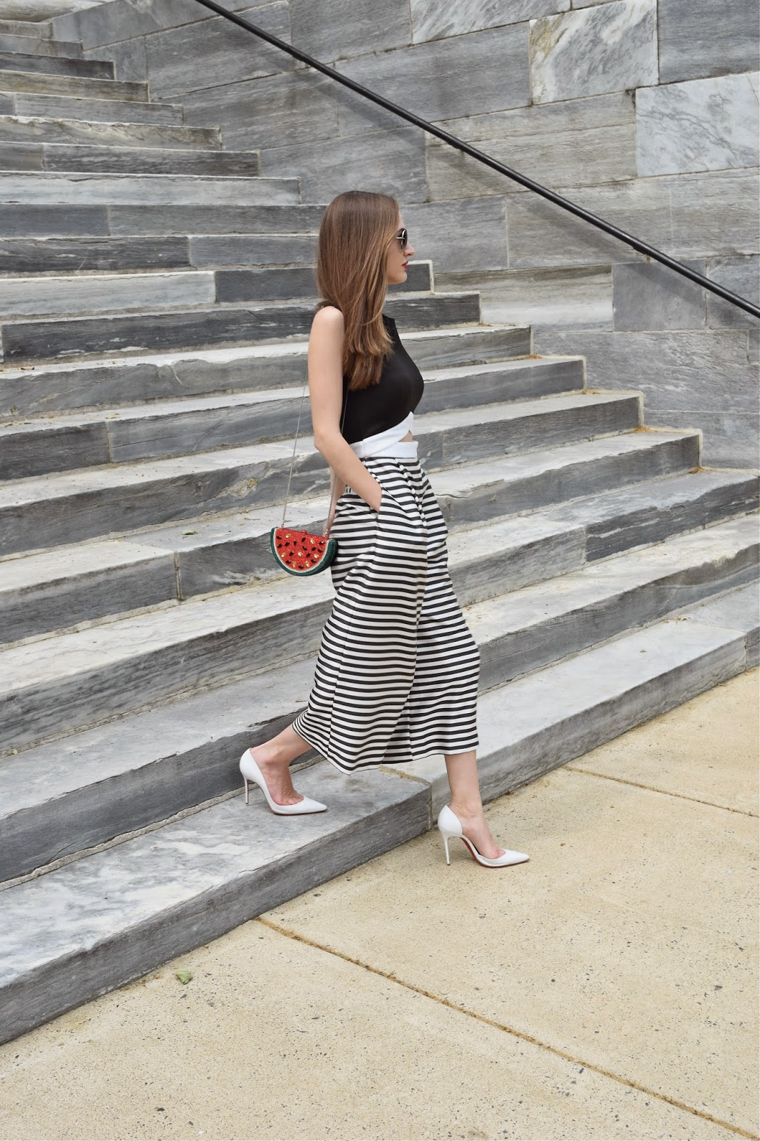 Wearing asos striped culottes jumpsuit, Christian Louboutin white pumps, Natasha Couture Crystal Watermelon Clutch, Lucky Fabb Conference 2015, Eva Chen