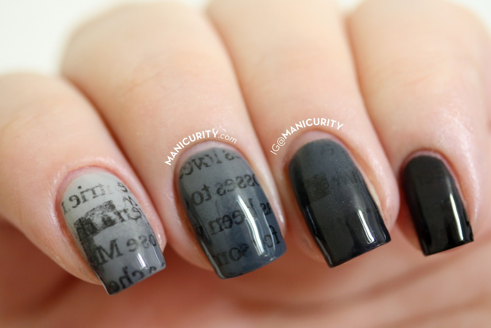 Manicurity | The Digit-al Dozen: Gradient Ombre Newsprint Nails - grey monochrome gradient ombre newspaper print nail art manicure
