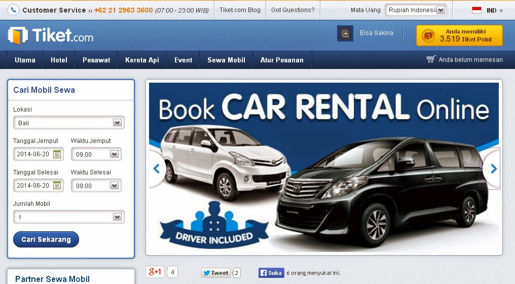 Blognya Elsa Review Sewa Mobil Online Lewat Tiketcom