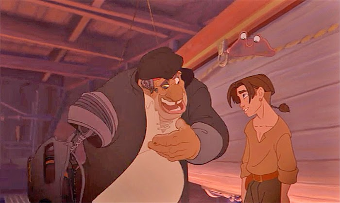 Jim Hawkins and Long John Silver Treasure Planet 2002 animatedfilmreviews.filminspector.com