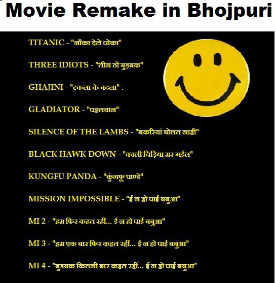 Hollywood-Bollywood Movie Remake in Bhojpuri, Funny BhojPuri Jokes