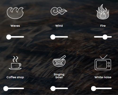 A Soft Murmur: A sound board for creating relaxing sounds. The image shows volume slider controls for waves, wind, fire, coffee shops, singing bowls and white noise from a TV.