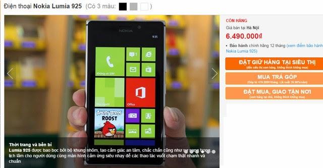Giá bán Lumia 925 đã chạm đáy?