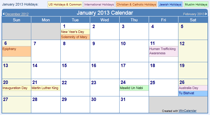 January 2013 Calendar Holiday