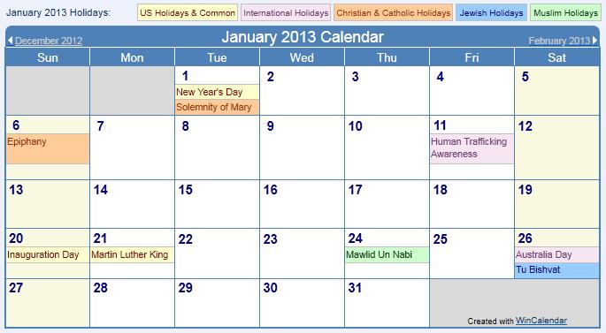 December 2013 Calendar with Holidays