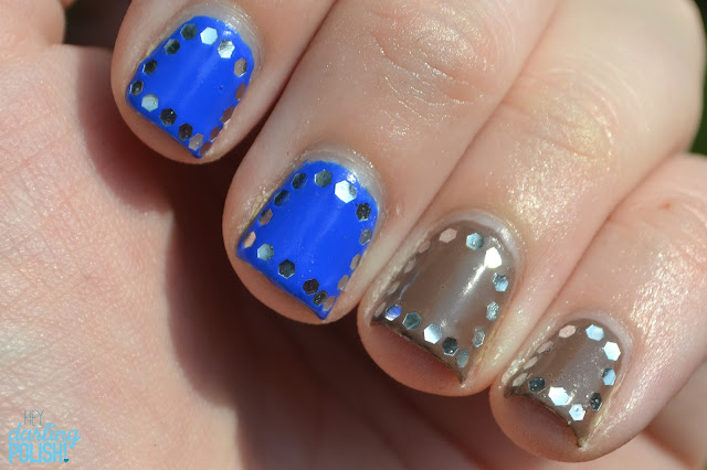 Nails, Nail Art, Sinful Colors Endless Blue, Sinful Colors Nirvana, Glequins