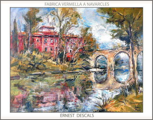 NAVARCLES-PINTURA-FABRICA VERMELLA-PONT-PAISATGES-CATALUNYA-PINTURES-ARTISTA-PINTOR-ERNEST DESCALS-
