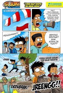 Gambar Lucu, Komik lucu si Juki makan karung