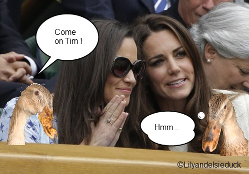 Princess Lily and Elsie watch the mens final at Wimbledon with Kate and Pippa