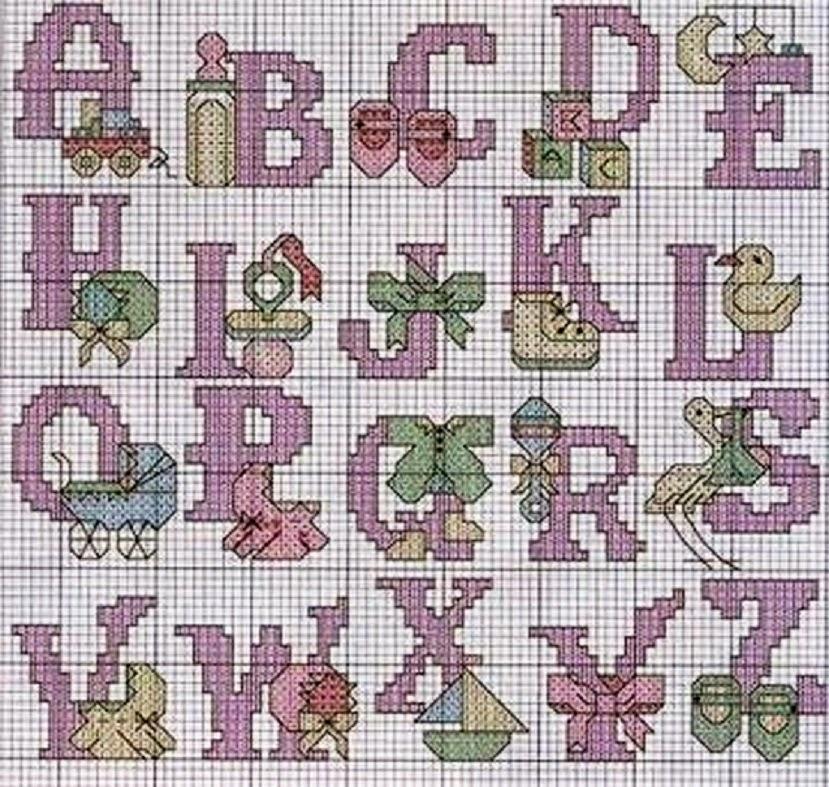 Hobby lavori femminili ricamo uncinetto maglia for Alfabeti a punto croce per bambini