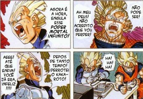 Goku e Vegeta jogando vídeo game