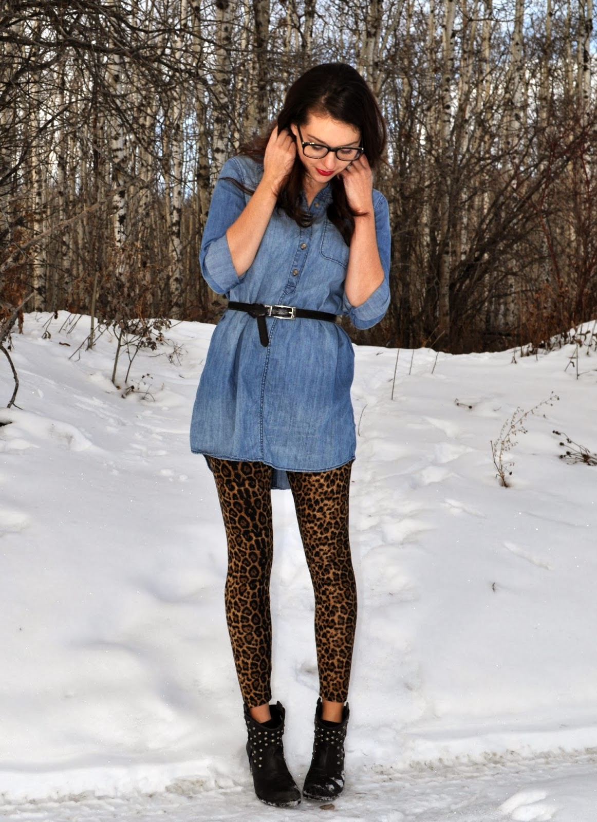 leopard pants chambray top