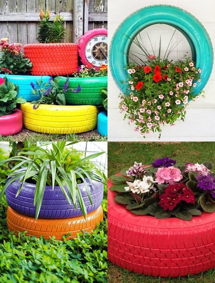Ritual de menina Reciclando pneus -> Jardins Decorados Com Pneus