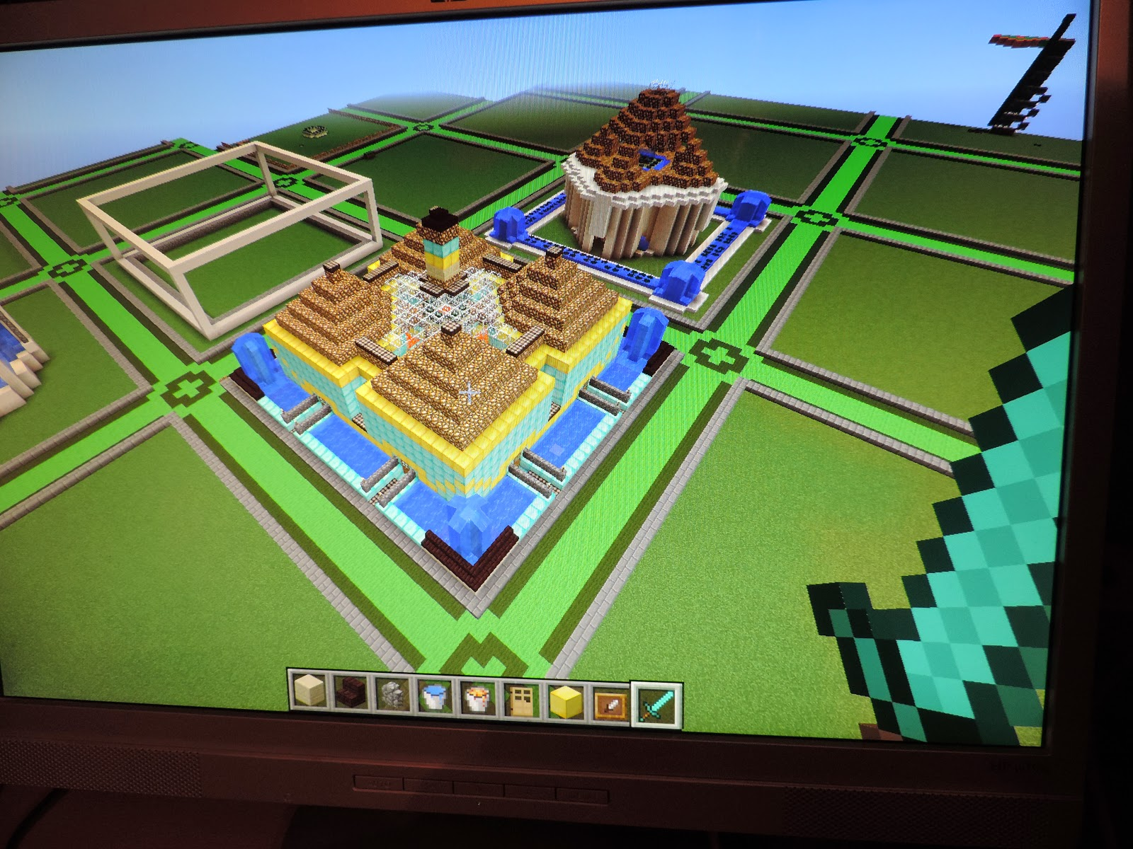 minecraft house with moat and lava