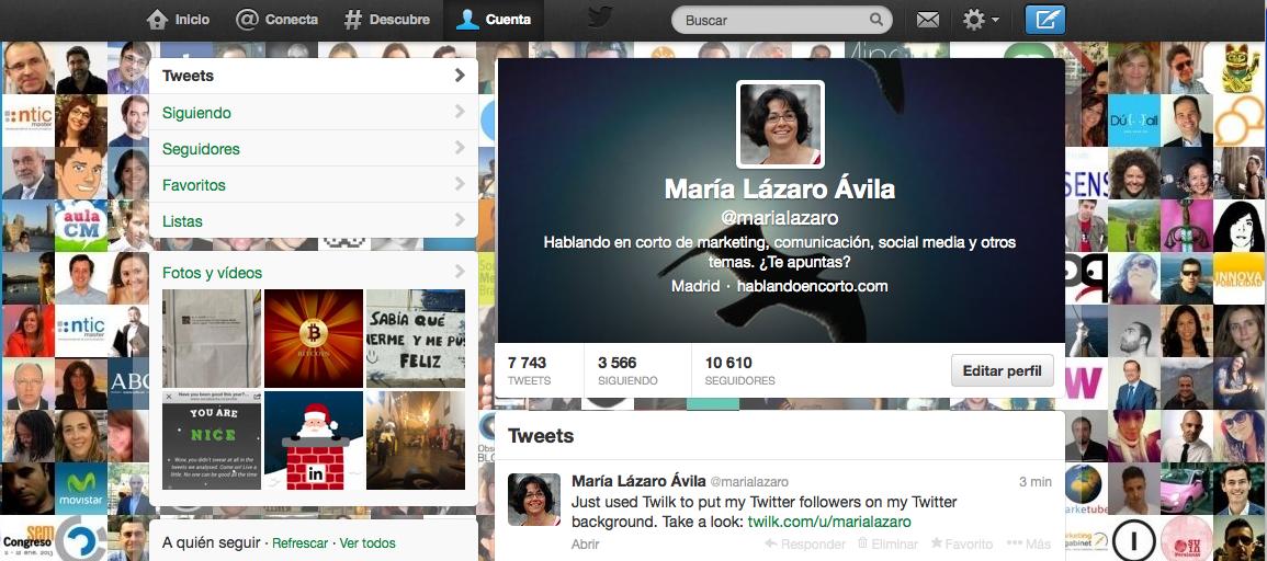 Crear con Twilk.com fondo de perfil con avatares seguidores en Twitter