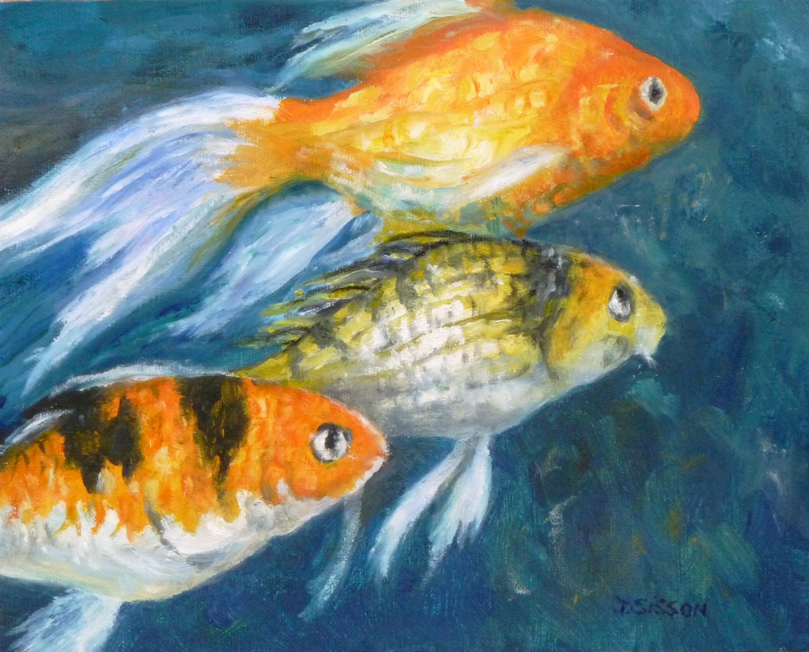 Daily Painting Projects: Goldfish Oil Painting Fish Art Portrait Sea ...