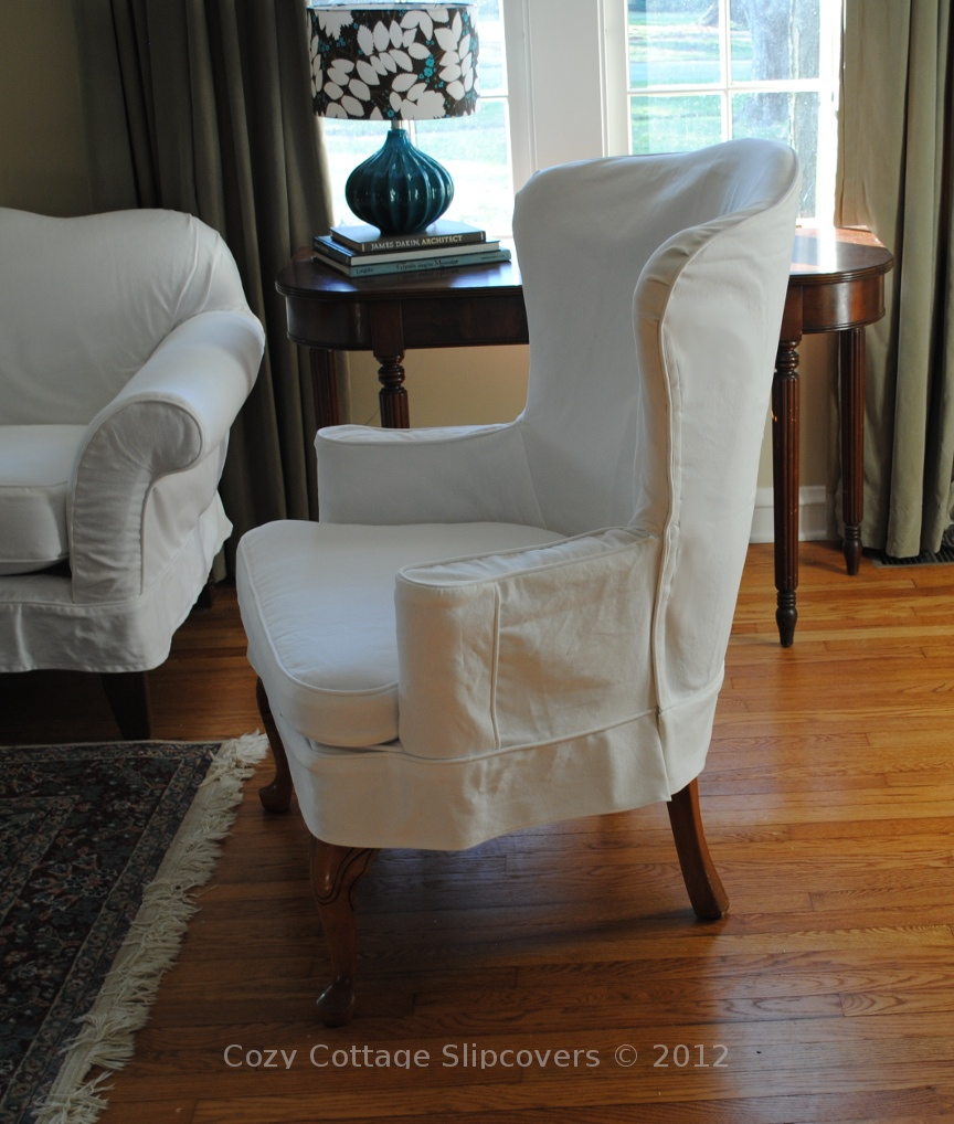 Cozy cottage slipcovers white denim wing chair for Furniture slipcovers for wingback chairs