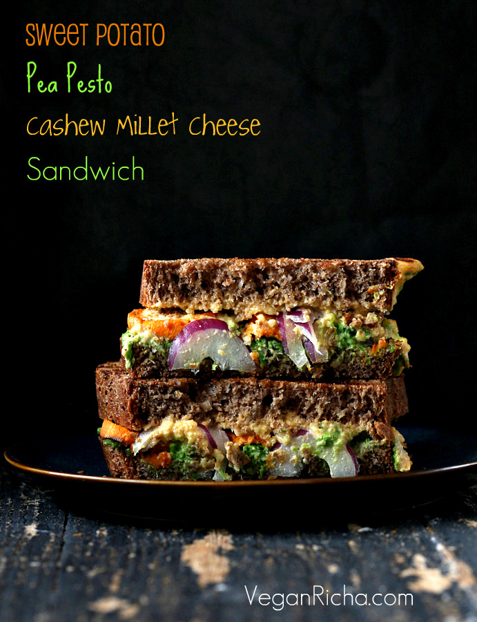 Vegan Grilled Nacho Cashew Millet Cheese, roasted Sweet Potato, Pea Pesto Sandwich