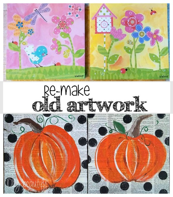 Re-make old artwork into something new at www.diybeautify.com