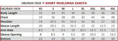 Ukuran Saiz T-shirt Muslimah Zariya