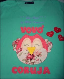 aplicações-customização-em camisas-coruja-em feltro-vovó coruja